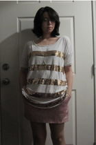 white gold sequin H&M shirt - pink Forever 21 skirt - gold clock diva necklace