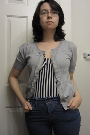blue jeans - black striped cotton on top - silver Forever 21 cardigan