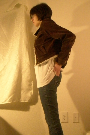 blue jeans - brown jacket - white shirt