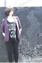 black cotton on leggings - purple Silence & Noise blazer - black cotton on top