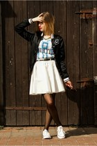 black nike jacket - white River Island skirt - gold River Island necklace