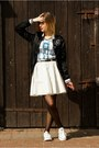 Black-nike-jacket-gold-river-island-necklace-white-river-island-skirt
