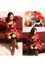 Brown-accessorize-boots-brick-red-dress