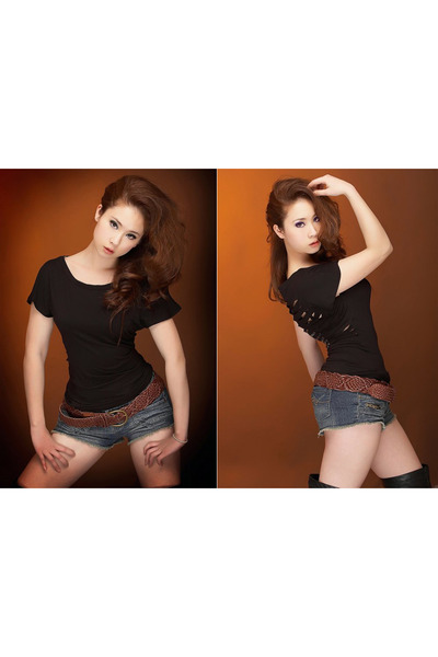 black Guess by Maricano t-shirt - blue rue21 shorts - brown belt - black B9 boot