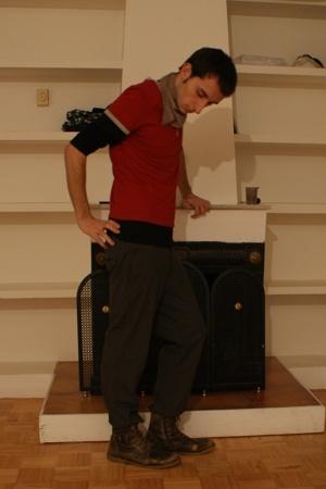 Topshop t-shirt - Topshop scarf - Uniqlo t-shirt - H&M pants - boots