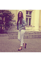 light blue jeans pull&bear jacket - white Bershka pants - brown H&M blouse