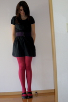 black H&M dress - purple American Apparel belt - pink Kintetsu Department Store