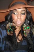 Silvia Gomes earrings - tawny wool select hat - navy wool River Island jumper