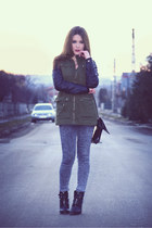 teal Terranova coat - navy denim H&M jeans - forest green Stradivarius heels