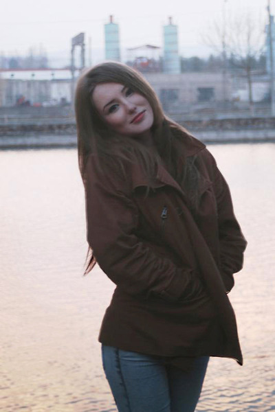 dark brown boyfriends Zara coat - light blue acid wash H&M leggings