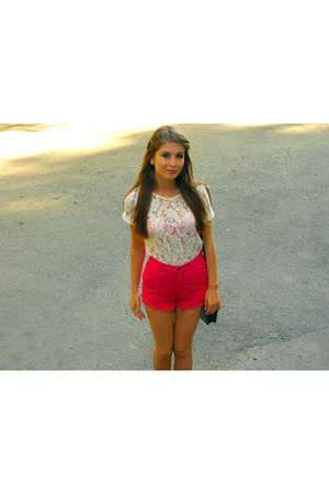 white lace Zara top - hot pink Stradivarius shorts - black Bershka flats