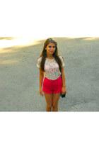 white lace Zara top - hot pink Stradivarius shorts - black Bershka flats