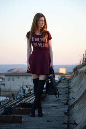 black Zara shoes - black H&M tights - crimson Stradivarius skirt