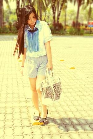 white from paris bag - blue random brand shorts - blue DIY necklace - black stud