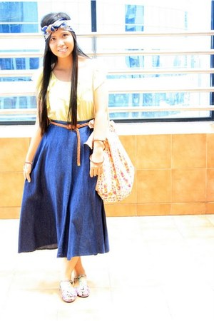 blue a turban thrifted scarf - yellow as top bought online dress
