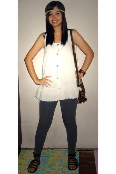 dress - leggings - shoes - Louis Vuitton purse