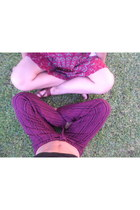 magenta local shops pants - maroon local shops skirt - brown local shops sandals
