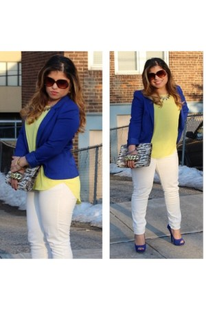 fitted blazer h&m divided blazer - Forever 21 jeans - knit Forever 21 blouse