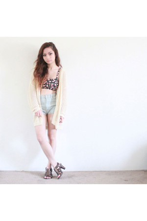 black caged Forever 21 top - light blue high-waisted brandy melville shorts