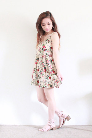 tan floral Love Culture dress - ivory caged back Forever 21 top