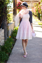 charcoal gray Forever 21 hat - light pink vintage dress