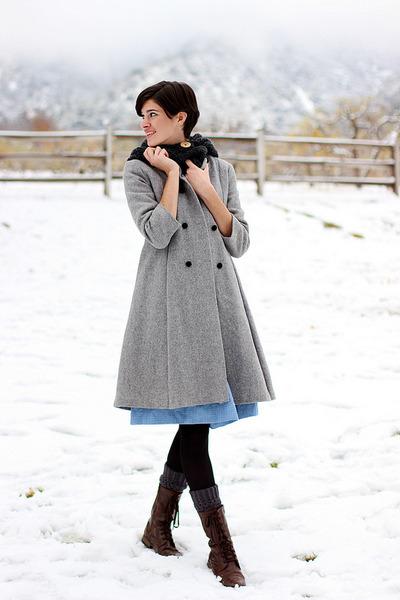 vintage coat - Mrs Pomeranz dress - gray tights Target tights