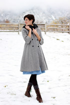 vintage coat - Mrs Pomeranz dress - gray tights Target tights