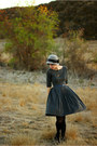 Navy-vintage-dress-gray-forever-21-hat-black-target-tights