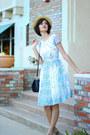 Sky-blue-mrs-pomeranz-dress-beige-straw-boater-mossimo-hat