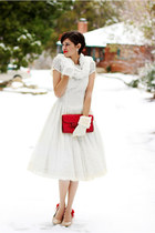 white vintage dress - white Target scarf - ruby red vintage purse
