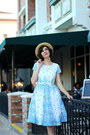 Sky-blue-mrs-pomeranz-dress-beige-straw-boater-mossimo-hat
