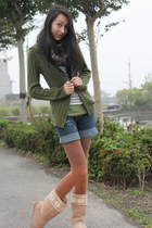light brown uggboots asos boots - dark green sweater Tex Woman coat