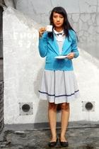 blue thrifted dress - blue Clothing Company cardigan - random shoes
