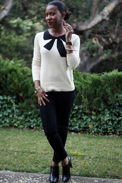 off white J Crew sweater - black Nine West boots - black Urban Outfitters pants