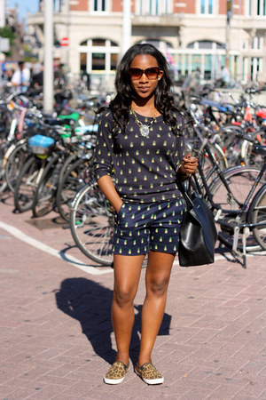 brown XOXO sneakers - navy JCrew sweater - dark gray JCrew shorts