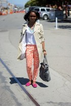 beige Zara jacket - heather gray Michael Kors bag - hot pink unknown loafers