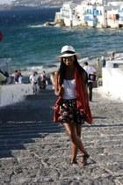 black Urban Outfitters hat - ivory Greek Street Vendor hat