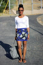 blue Forever 21 skirt - gray Michael Kors bag - white Gap t-shirt