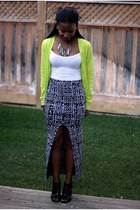 black Urban Outfitters skirt - chartreuse Gap cardigan - white Forever 21 top