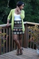 black Zara skirt - lime green J Crew cardigan - bronze calvin klein heels