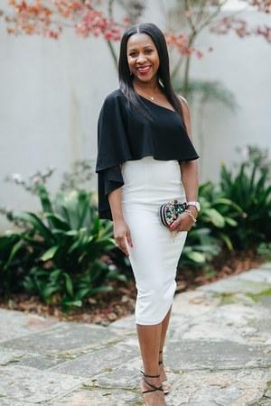 black Halo dress - white Christian Louboutin heels