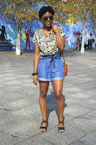 denim Urban Outfitters shorts - Urban Outfitters sandals - Forever 21 top