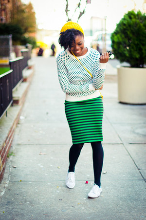Forever 21 sweater - H&amp;M hat - Forever 21 skirt - Urban Outfitters sneakers