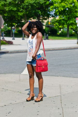 know know top - red vintage Coach bag - brown H&M sandals
