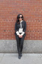black peplum Forever 21 jacket - off white polka dot madewell blouse