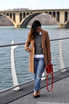 red 31 Phillip Lim bag - blue madewell jeans - tan Aqua jacket