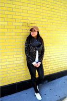 brown leopard print Urban Outfitters blazer - camel JCrew hat