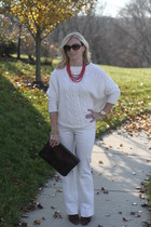 Loft sweater - Ralph Lauren boots - cynthia rowley bag - Prada sunglasses
