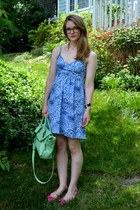 green mint green Expression NYC purse - sky blue spots Old Navy dress