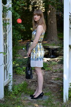 ivory H&M dress - black kate spade bag